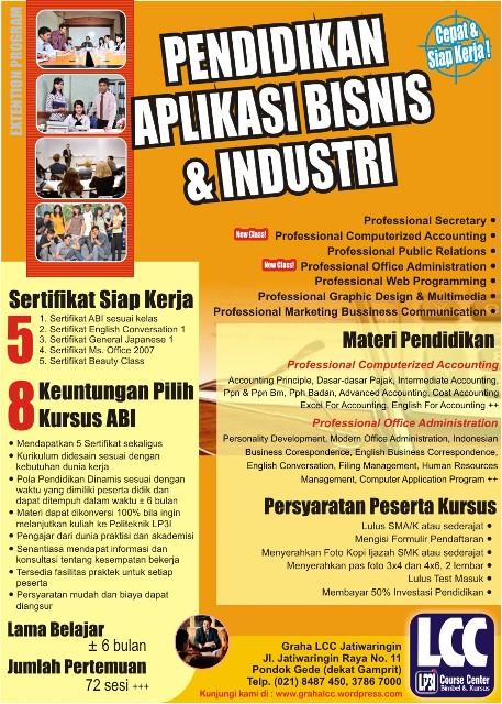 Brosur Promosi Kursus Dan Abi Lcc Jatiwaringin Bimbel Jatiwaringin