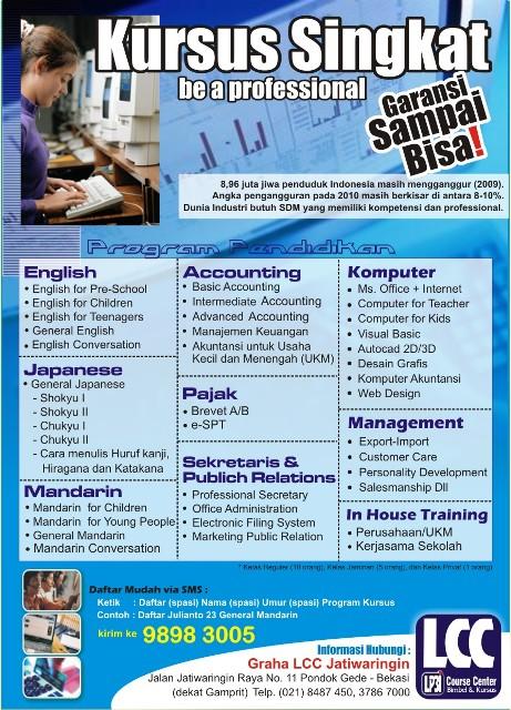 Brosur Promosi Kursus dan ABI LCC Jatiwaringin  BRILLIANT STUDENT
