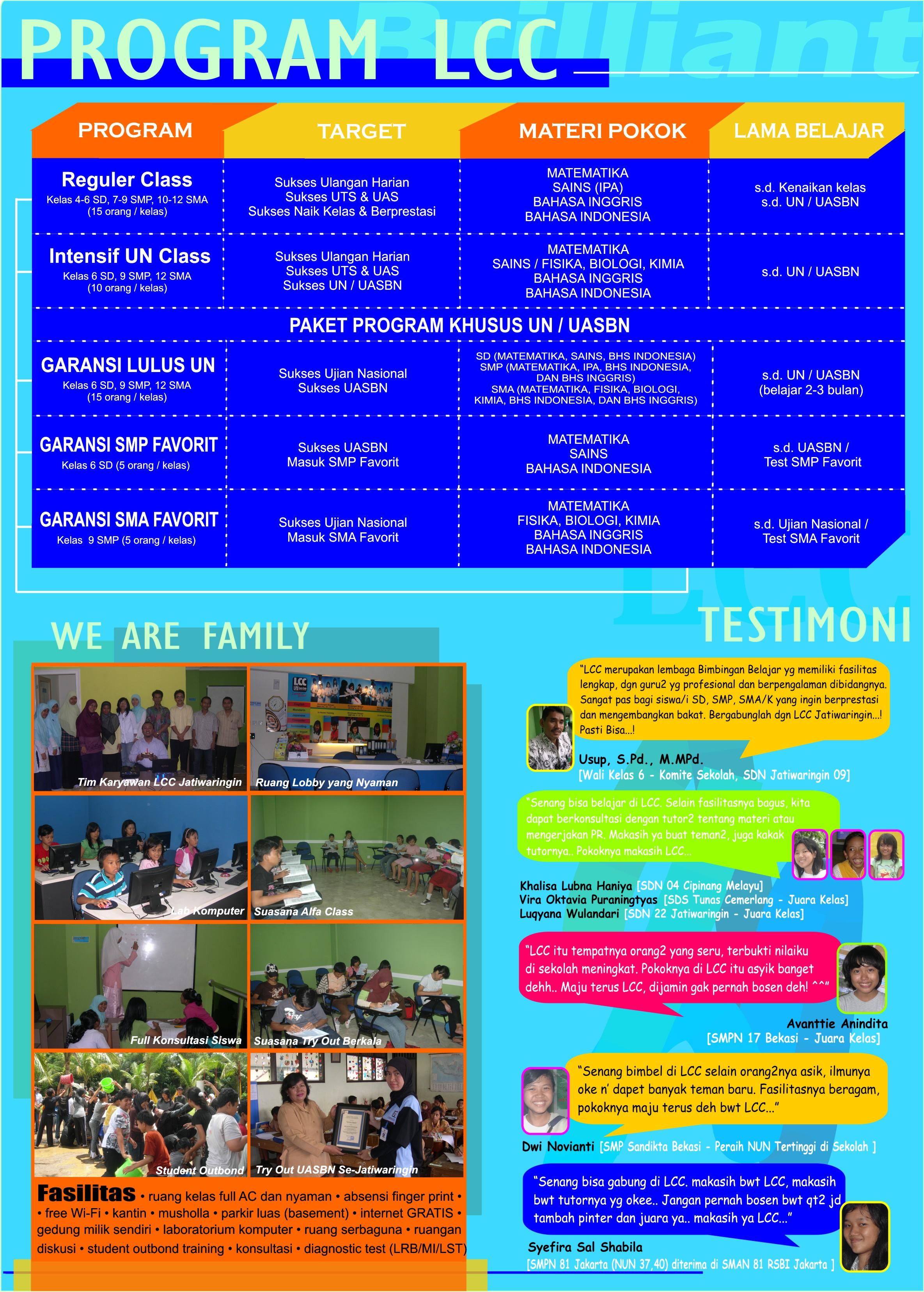 Contoh Brosur Bimbel Brilliant Student Center