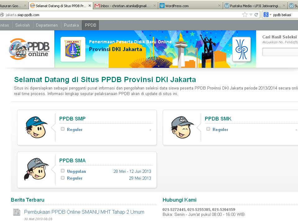 Pendaftaran PPDB DKI JAKARTA untuk SD, SMP, SMA, SMK Negeri Tahun 2014