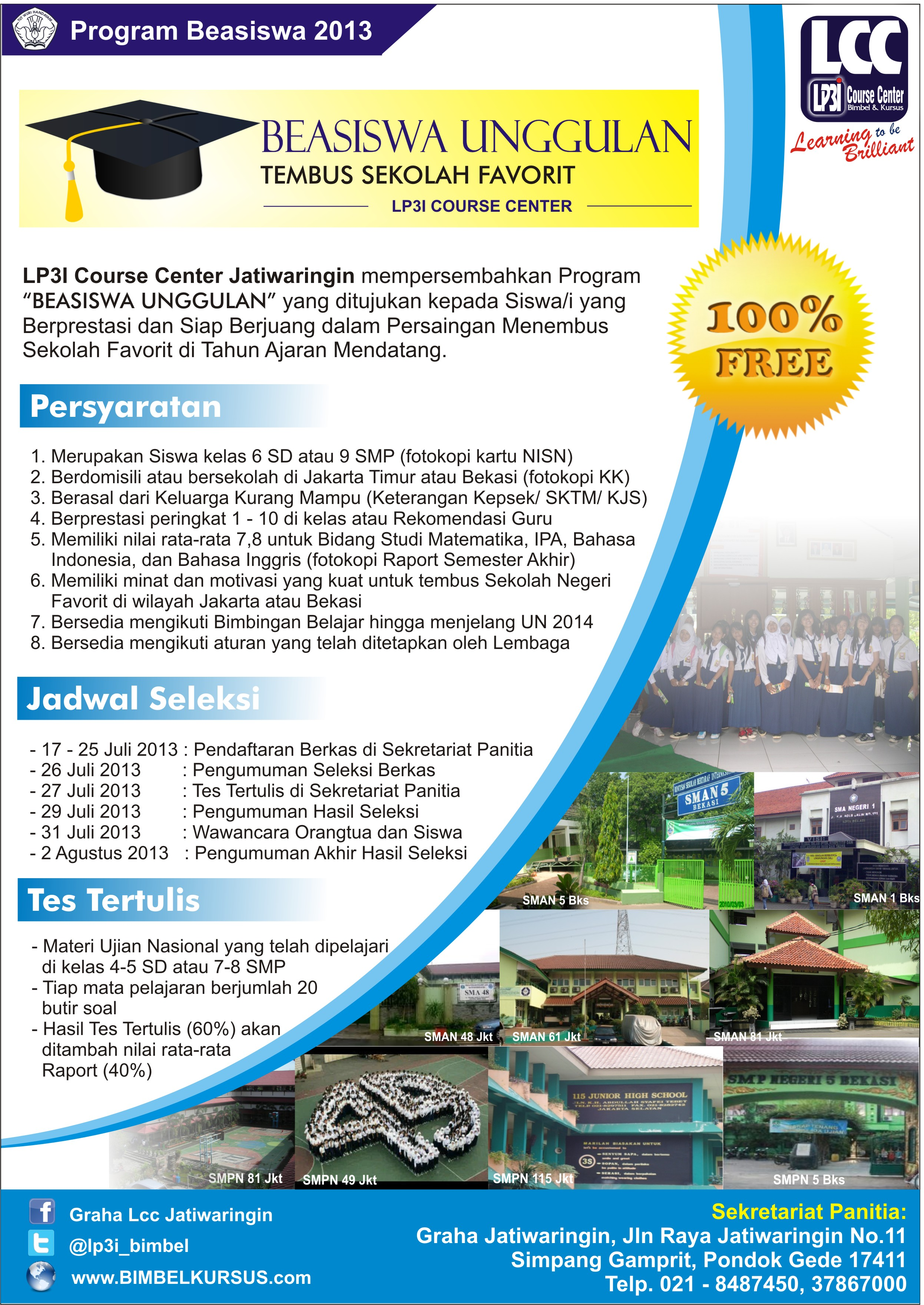 "PROGRAM ""BEASISWA UNGGULAN"" LP3I COURSE CENTER JATIWARINGIN"