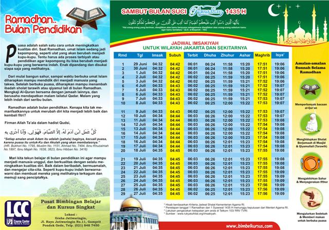 Jadwal Imsakiyah Ramadhan 1435 H 2014 M Silahkan Download Brilliant Student Center